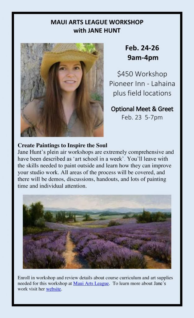 Jane Hunt - Artist Workshops - Maui